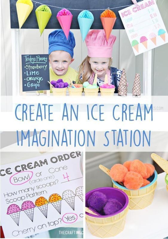 Create an Ice Cream Imagination Station | Great summer activity for kids.