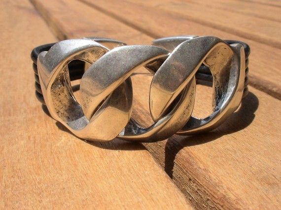lederen armband voor mannen van keten armbanden zilveren door kekugi