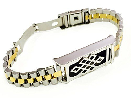 BSI Two Tone Silver  Gold Metal Links Chain Bracelet With Unique Design Silver Color Metal Housing For Fitbit Flex Activity Wristband Tracker -- Check out this great product.(This is an Amazon affiliate link and I receive a commission for the sales)