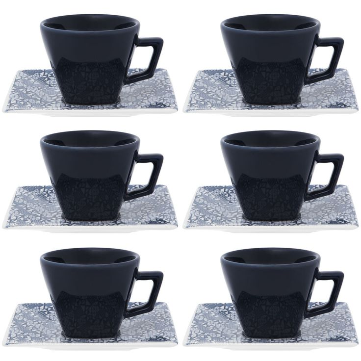 Conjunto de Xícaras de Chá - Quartier Piece - Oxford Porcelanas - Oxford Porcelanas - 14x14 - 200ml