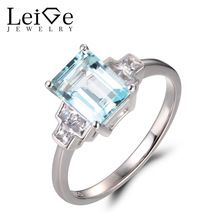 Leige Jewelry Natural Sky Blue Aquamarine Rings Promise Rings Emerald Cut Rings March Birthstone Rings Solid 925 Sterling Silver //Price: $US $167.00 & FREE Shipping //     #jewelry