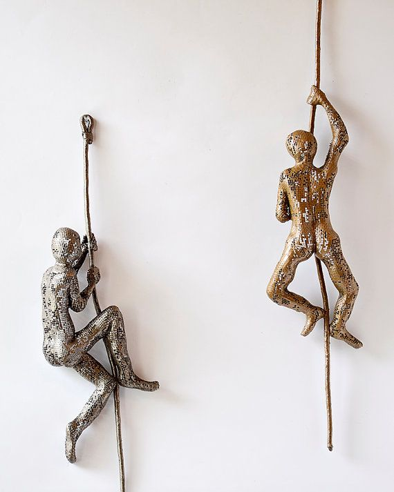 Climbing Figure on the rope  metal wall art  Unique by nuntchi, $95.00