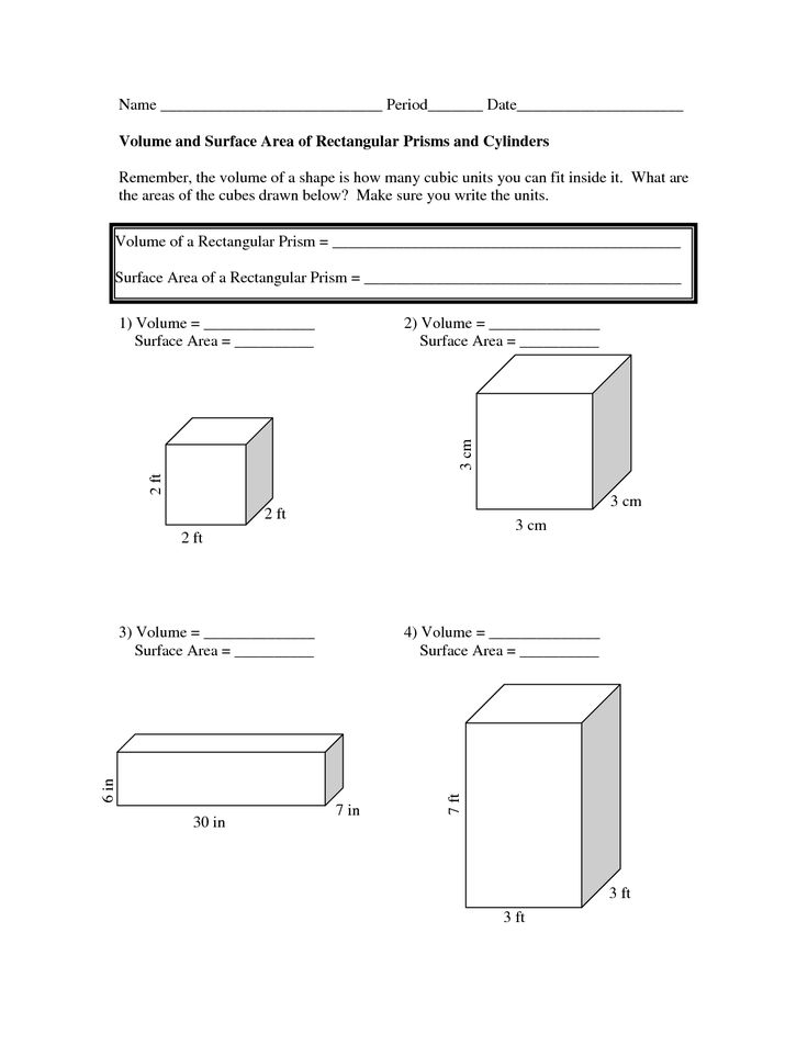 Area and volume worksheets for grade 8