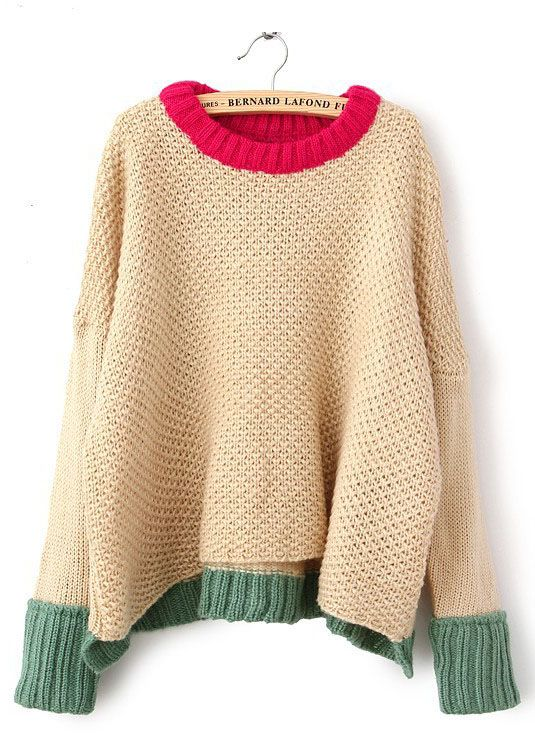 great chunky sweater with color contrast trim