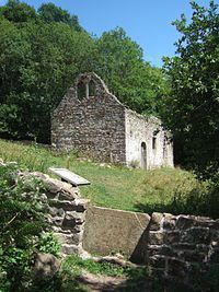 St James church, Lancaut.jpg Lancaut, adjacent to River Wye, Woodside, Gloucestershire. Popular picnic area.  Some people are offended that gravestones have been left lying on the ground around the church and that the style stone seen in this pin is also an old burial headstone.