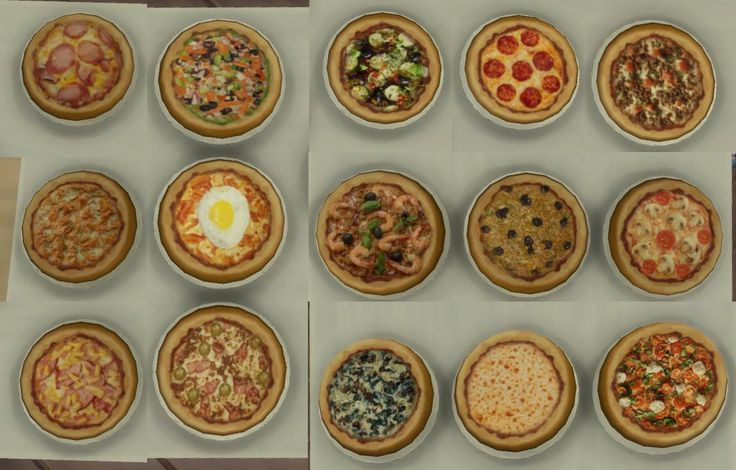 Mod The Sims - 15 mini pizzas for restaurants (and home) Custom food.