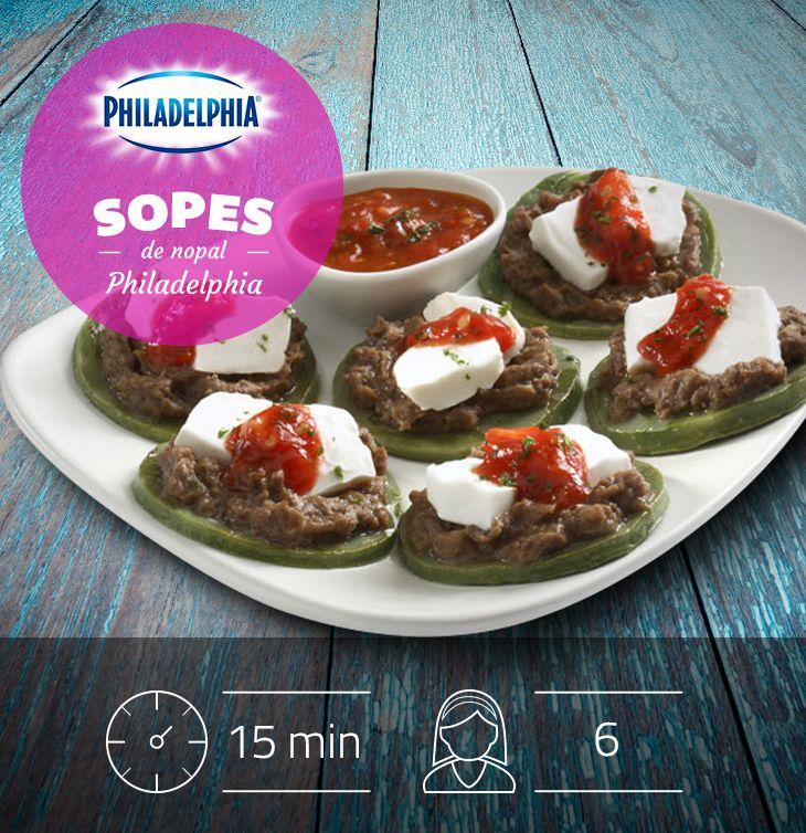 Para la hora de la comida te recomendamos estos deliciosos Sopes de nopal Philadelphia, te encantarán.