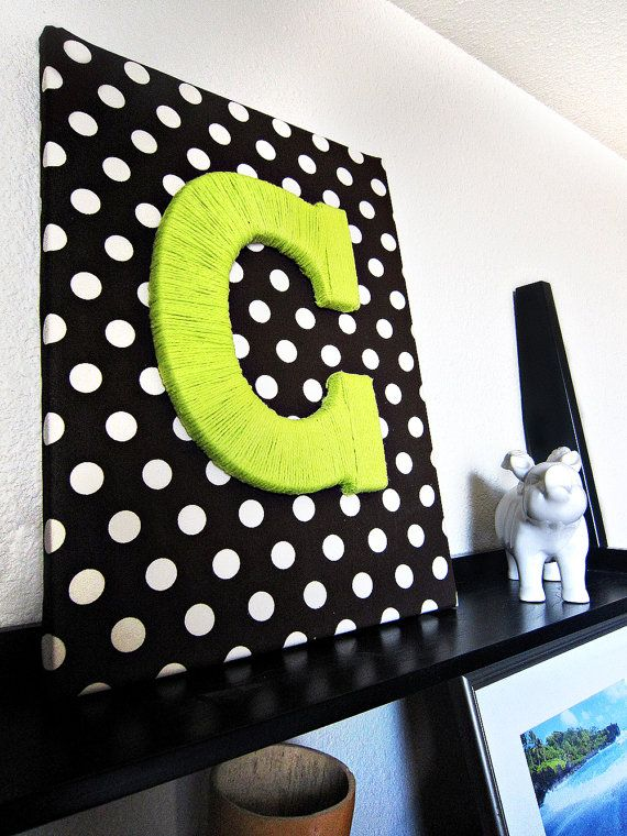 Custom Fabric Wrapped Canvas with Yarn Letter