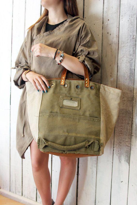 MY BAG MILITARY 4 Handmade Italian Leather & Canvas Tote Handbag di LaSellerieLimited su Etsy