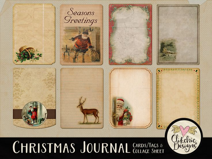 Christmas Journal Cards and Collage Sheet
