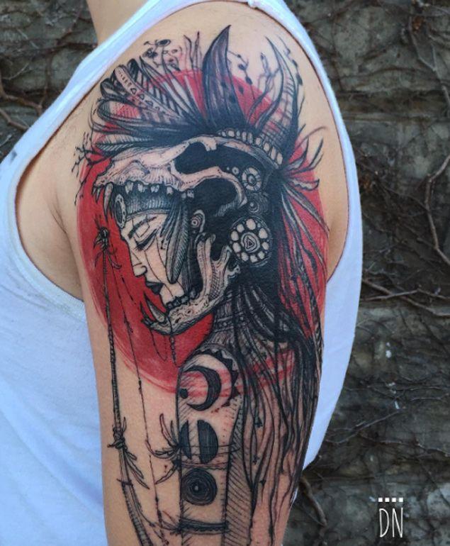 Female Mayan Warrior Tattoo by Dino Nemec - TATTOOBLEND