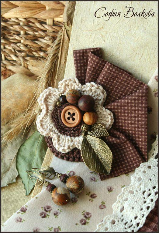 """Комплект """"Орешник"""" - деревянный,украшения с яшмой,орешник,орех,природный"""