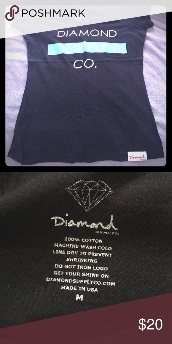 Women's Diamond Supply short sleeve tee Women's black shirt sleeve Diamond Supply tee. White lettering with some turquoise. Super cute for a casual day Diamond Supply Co. Tops Tees - Short Sleeve