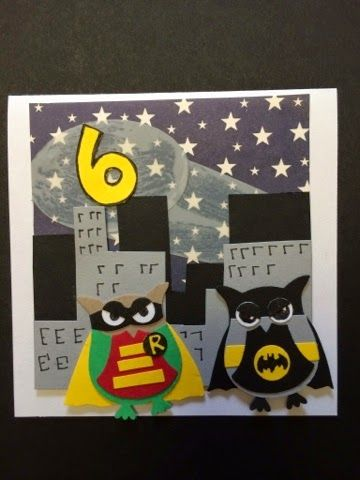Boy super hero card. Stampin up owl punch