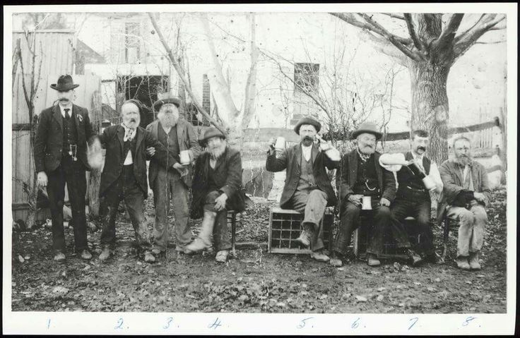Drinkers at the Lilydale pub, 1883. What a great photo - the men are listed on the back of the photo - (left to right)  M. Johnson, Mick O'Brien, Baggie Davitt, Magpie McLellan, Long John, Ned Jones, Bill Supple, Russian Ned. State Library of Victoria Image H42740/1.