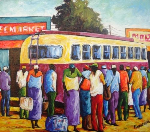Acrylic Painting - Bus Leaving Town by Peter Kwangware
