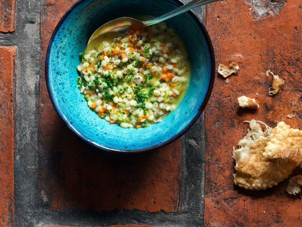 A splash of Italian dessert wine brightens up this warming ham and grain soup.