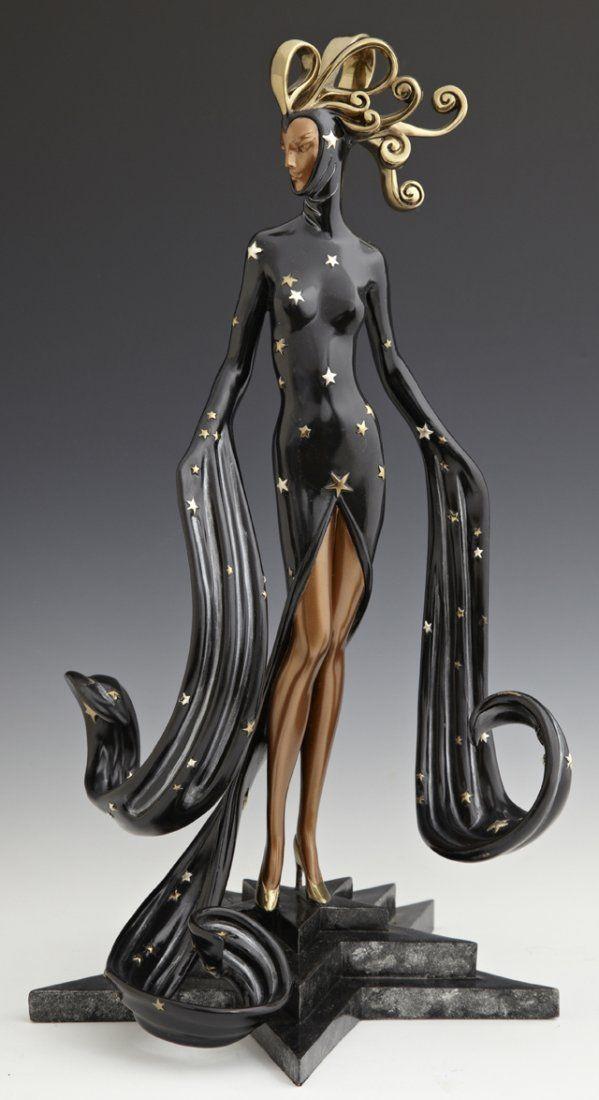 """Erte, """"Bal Tabarin"""", 1989, edición limitada escultura de bronce patinado,"""
