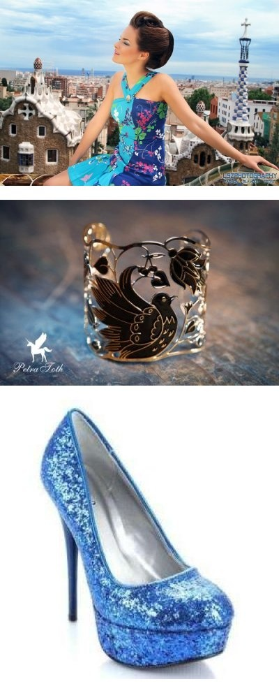 Na sebe mam modré romantické šaty doplnene lodičkami modrej farby a k tomu naramok Petry Toth:)