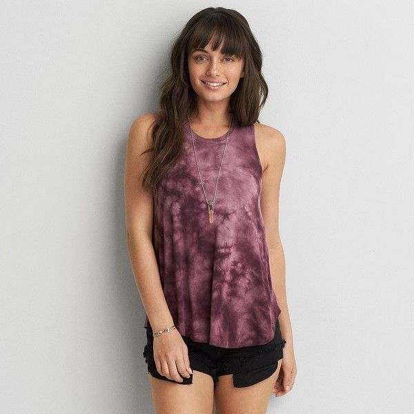 AEO Soft & Sexy Drapey Tank ($20) ❤ liked on Polyvore featuring tops, maroon, maroon tank top, american eagle outfitters, tye dye tank top, sexy tops and tie dye tank top
