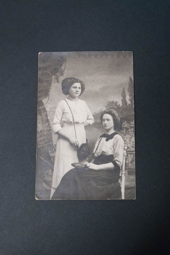 Antique post card Real photo Two young women pose Black and white Cabinet photo RPPC Russian Imperial coat of arms Photo for crafts