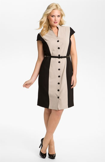 Calvin Klein Belted Colorblock Shirtdress (Plus) available at #Nordstrom