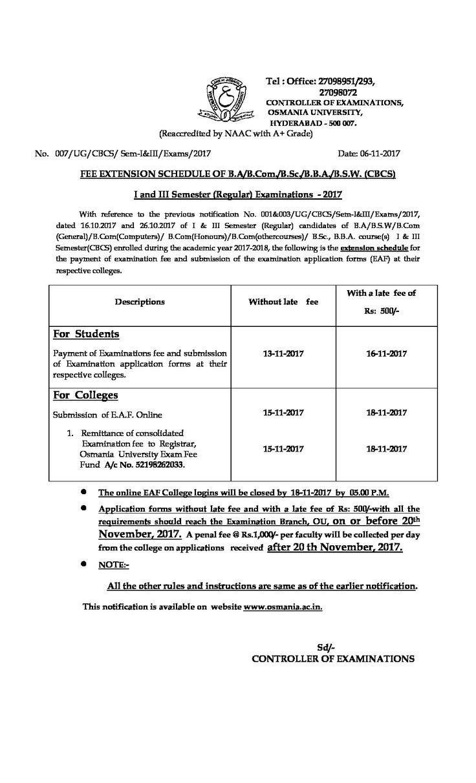 OU: FEE EXTENSION SCHEDULE OF B.A/B.Com./B.Sc./B.B.A./B.S.W. (CBCS) I and III Semester (Regular) Examinations - 2017 - http://www.thesis123.com/notifications/ou-fee-extension-schedule-b-ab-com-b-sc-b-b-b-s-w-cbcs-iii-semester-regular-examinations-2017/