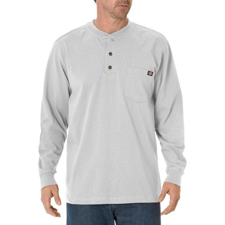 Dickies Men's Big & Tall Cotton Heavyweight Long Sleeve Pocket Henley Shirt- Ash Gray Xxxl Tall