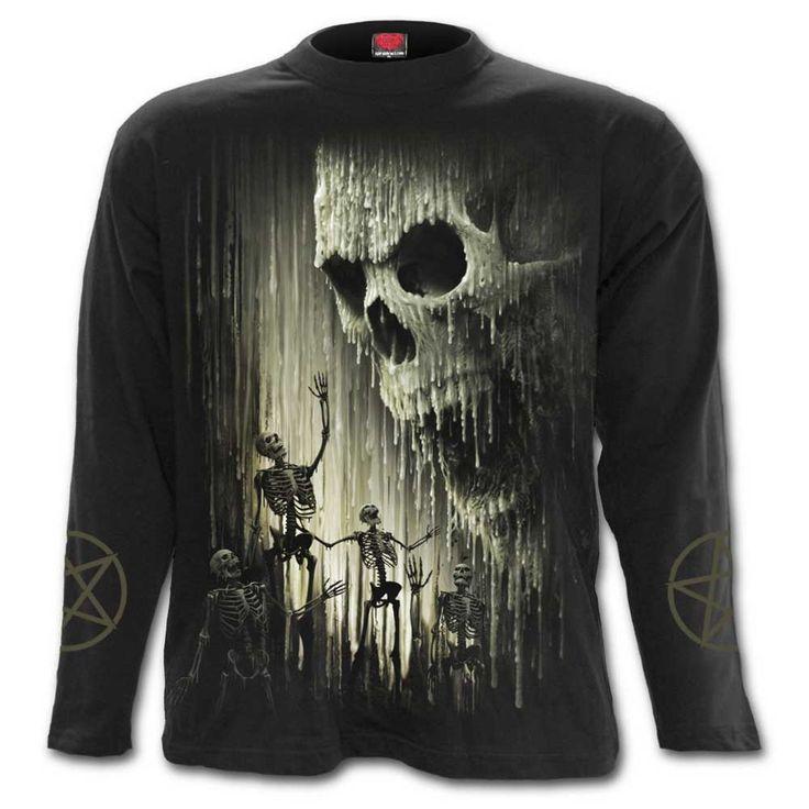 Waxed Skull, gothic metal fantasy schedel heren top met lange mouwen zwart