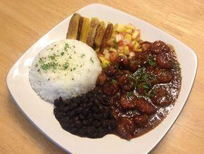 Jamaican Black Pepper Shrimp Black Beans Rice Fried Plantains And Mango Salsa Jamaican