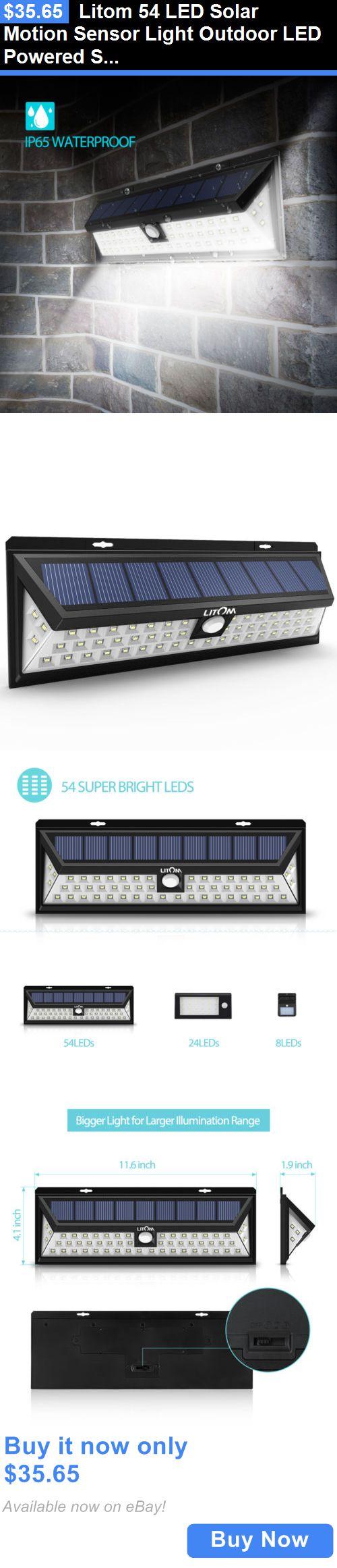 farm and garden: Litom 54 Led Solar Motion Sensor Light Outdoor Led Powered Security Lighting Us BUY IT NOW ONLY: $35.65