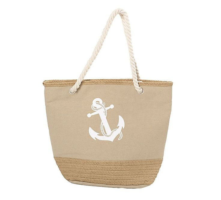 FABRIC BEACHBAG IN BEIGE COLOR W/ANCHOR 52X23X43/80 - Bags