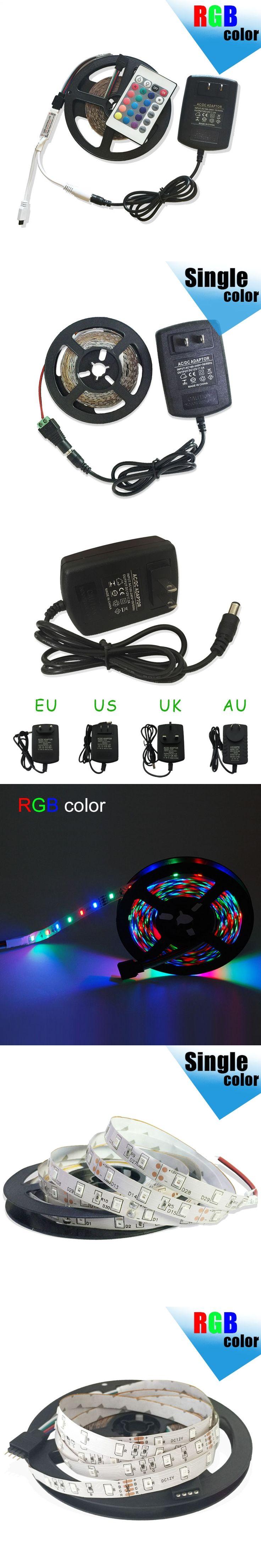 Waterproof LED Strip 300leds/5M 3528 LED Lights SMD RGB Lights IP20/IP65 LED Ribbon Tape set+RGB Controller+12V 2A Power Supply