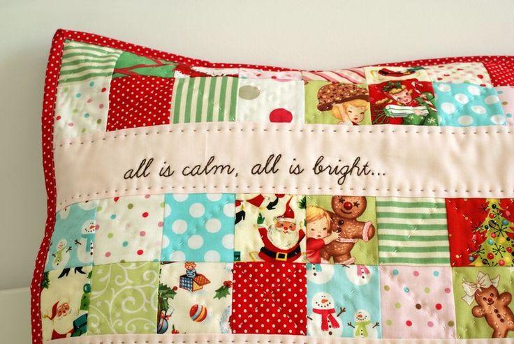 Adorable Christmas patchwork pillow.: Adorable Christmas, Christmas Crafts, Quilts Christmas, Pillows Ideas, Christmas Pillows, Christmas Fabric, Quilts Pillows, Christmas Patchwork, Patchwork Pillows