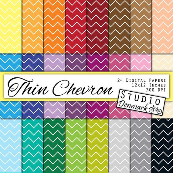 Thin Chevron Digital Paper Value Pack - 24 Colors - 12inx12in 300 dpi jpg - Commercial Use - Instant Download - Digital Chevron Paper #etsy  #etsymnt