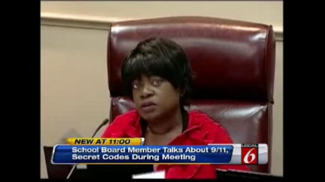 "OCALA -- A member of the Marion County School Board gave a rambling speech at the end of a meeting that left her colleagues confused. Speaking directly to the camera broadcasting the meeting, she said things like, ""You don't have my daughter hostage,"" ""No, I cannot bow down to Islam,"" and, ""I broke down a code and I sent it to George Bush."" Later she told a reporter that she had taken the alleged threats to the police where ""she was asked if she was in therapy."" (February 2014)"