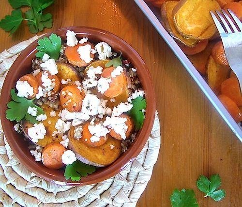 Quinoa met zoete aardappel en wortel