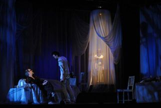 THE GENTLEMAN CALLER.  Nigel Bennett, Harrison Thomas, Carmen Grant (curtain)