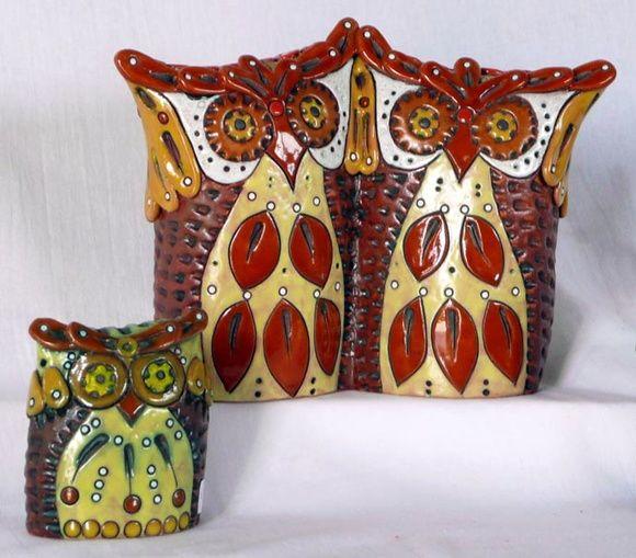 Lechuzas de cer mica decoradas bajo y sobre relieve con for Ceramica buenos aires