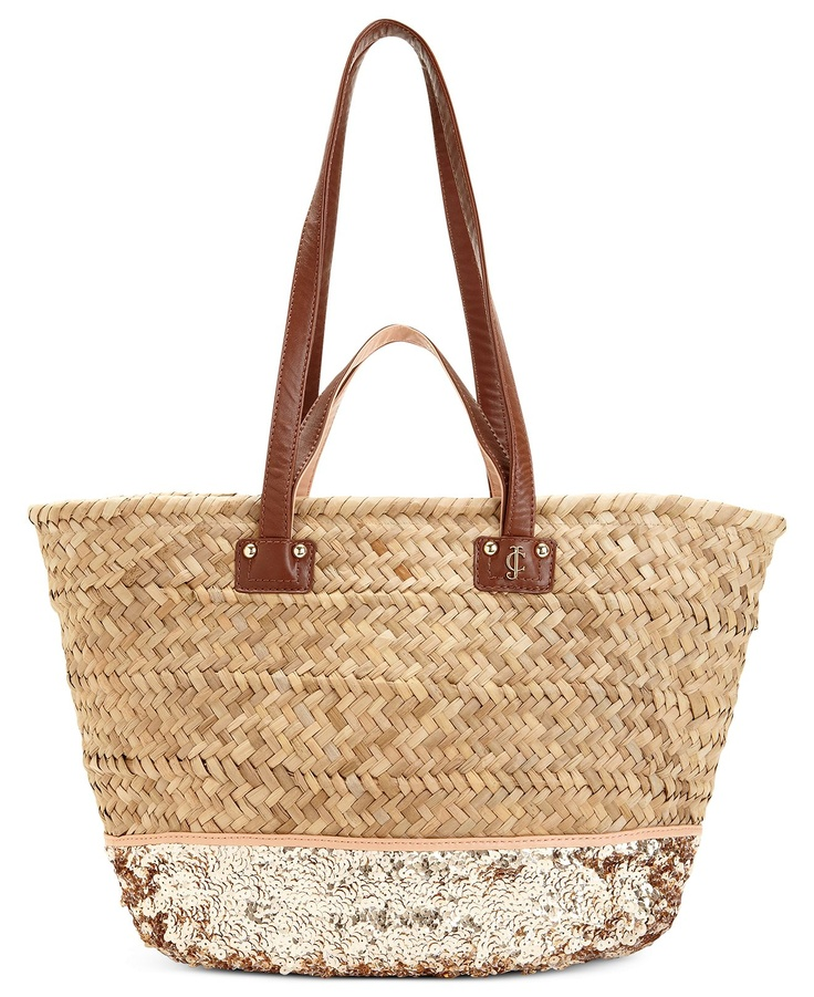 Handbag Straw And Sequin Beach Tote Handbags Accessories Macy S