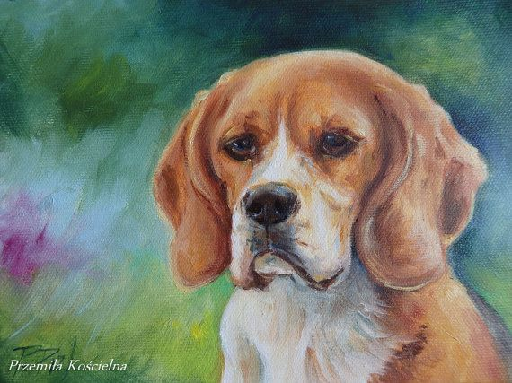 BEAGLE DOG PORTRAIT Original oil painting Hand by CanisArtStudio