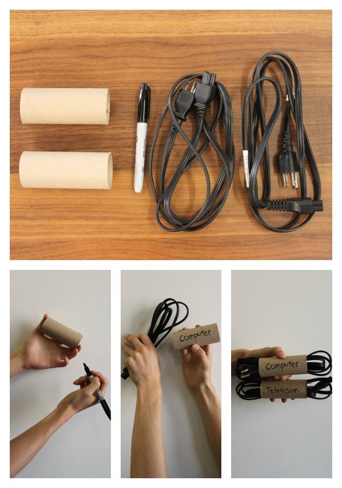 Keep cables of all kinds untangled and tidy thanks to this inexpensive solution using toilet paper or paper rolls. Step 1: Gather toilet paper or paper rolls, a marker and necessary cords. Step 2: If using paper towel rolls, cut into halves or thirds, depending on the length of the cords you'd like to organize. Step 3: Label paper towel rolls, so you can quickly and easily identify each respective cord. Optional: Decorate rolls before labeling. #paypalit