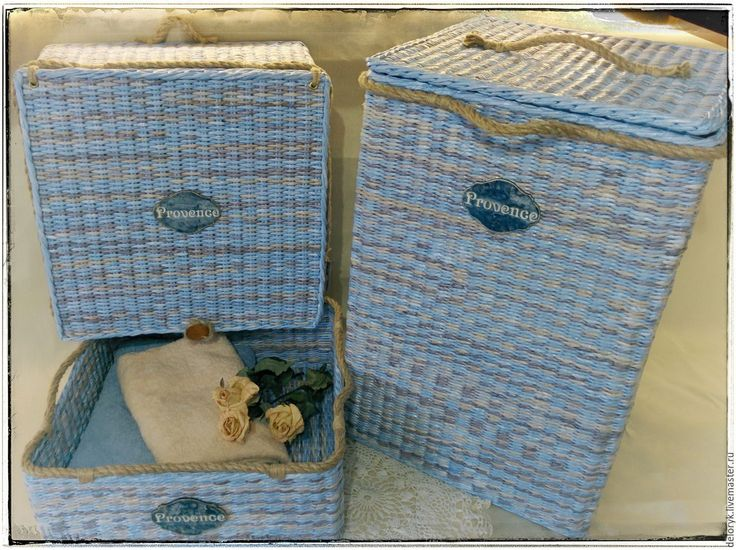 Купить Лоток для полотенец - голубой, корзина плетеная, короб плетеный, лоток, для полотенец, интерьер ванной