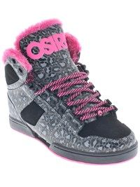 Osiris Black Pink Cheetah NYC83 Shearling Womens Hi Top Shoe