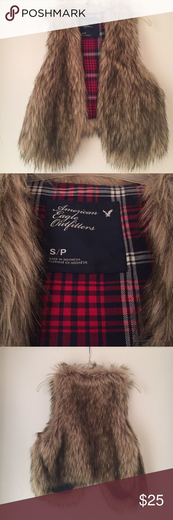 American eagle outfitters women's fur vest size S Women's size small fur vest from American eagle outfitters - brown fur and plaid inside American Eagle Outfitters Jackets & Coats Vests