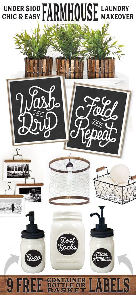 Chic  Easy Farmhouse Laundry Makeover for Less Than $100 – Lettered  Lined Style Decor Hanger Hangers DIY Clothespins Clothespin Mason Jars Jar Dispenser Labels Soap Lost Socks Chicken Wire Pendant Basket Container Planter Pot Plant Wash Dry Fold Repeat Art Print Sign Signs Style Ideas Inspiration