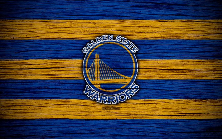 Download wallpapers 4k, Golden State Warriors, NBA, wooden texture, basketball, Western Conference, USA, emblem, basketball club, Golden State Warriors logo