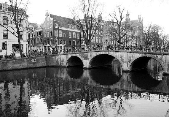 Amsterdam photography Amsterdam art print by ParisDecorPrints #artprint #black&white #amsterdam #landscape