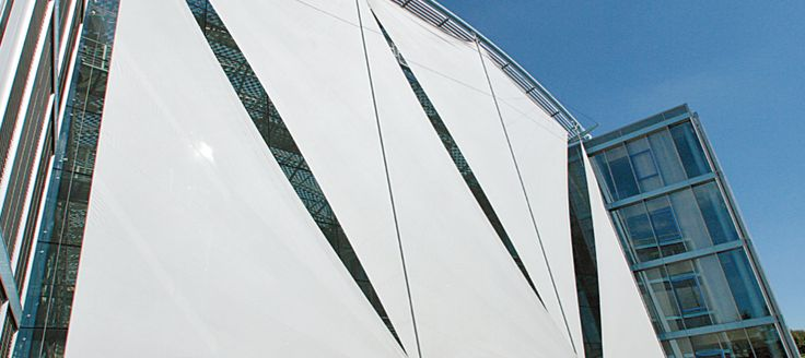 Festo Headquarters - Esslingen, Germany | incredible shade sail made with Serge Ferrari composite membrane as textile facade/solar protection