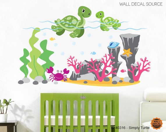 Turtles wall decals ocean wall decals sea by walldecalsource animal wall decalsnursery